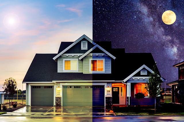 dům ve dne i v noci